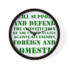 supportanddefendGREEN Wall Clock