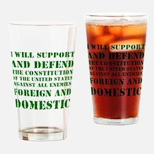 supportanddefendGREEN Drinking Glass