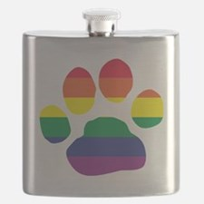 Gay Pride Paw Print Flask