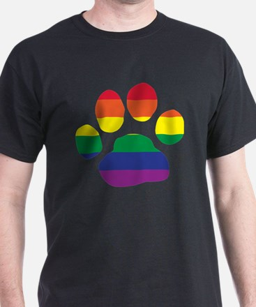Gay Pride Paw Print T-Shirt