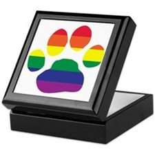 Gay Pride Paw Print Keepsake Box