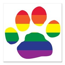 "Gay Pride Paw Print Square Car Magnet 3"" x 3"""