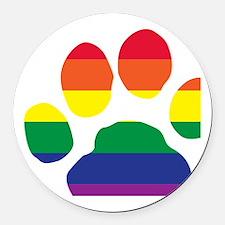 Gay Pride Paw Print Round Car Magnet