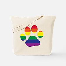 Gay Pride Paw Print Tote Bag