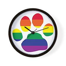 Gay Pride Paw Print Wall Clock