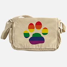 Gay Pride Paw Print Messenger Bag