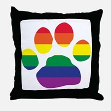 Gay Pride Paw Print Throw Pillow