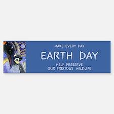 """Make every Day Earth Day"""" Penguin Bumper Bumper Bumper Sticker"""