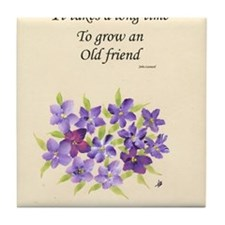 Poetry of an Old Friend Tile Coaster