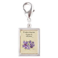 Poetry of an Old Friend Silver Portrait Charm