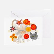 Abstract Floral & Cat Greeting Cards (Pk of 10