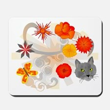 Abstract Floral & Cat Mousepad