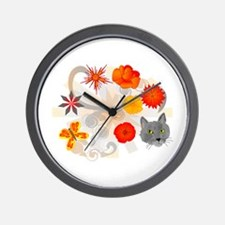 Abstract Floral & Cat Wall Clock
