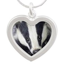 Cute Badger Silver Heart Necklace