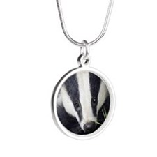 Cute Badger Silver Round Necklace