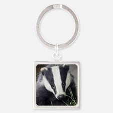 Cute Badger Square Keychain