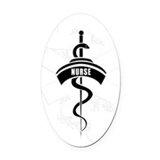 Nurse Heart Tattoo Oval Car Magnet