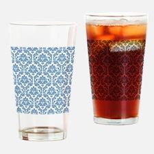 Dusk Blue Damask Drinking Glass