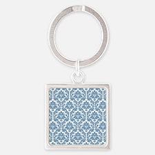 Dusk Blue Damask Square Keychain