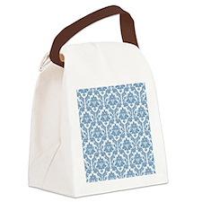 Dusk Blue Damask Canvas Lunch Bag