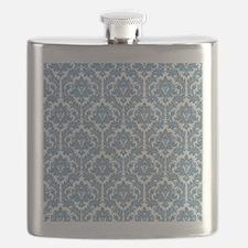 Dusk Blue Damask Flask