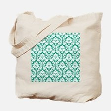 Emerald Green Damask Tote Bag