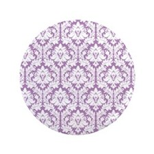 "Lilac Violet Damask 3.5"" Button"