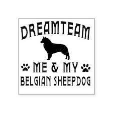 "Belgian Sheepdog Dog Design Square Sticker 3"" x 3"""