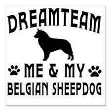 "Belgian Sheepdog Dog Des Square Car Magnet 3"" x 3"""