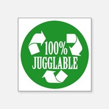"""100% Jugglable (Green) Square Sticker 3"""" x 3"""""""