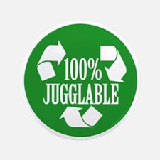 """100% Jugglable (Green) 3.5"""" Button"""