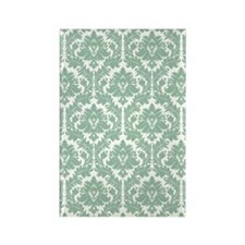 Jade Green Damask Rectangle Magnet