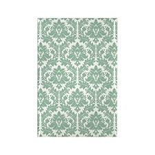 Jade Green Damask Rectangle Magnet