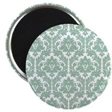 Jade Green Damask Magnet