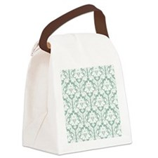 Jade Green Damask Canvas Lunch Bag