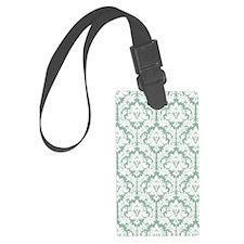 Jade Green Damask Luggage Tag