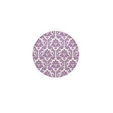 Lilac Violet Damask Mini Button
