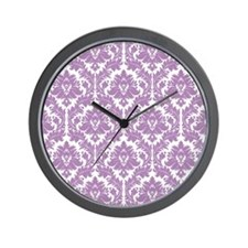 Lilac Violet Damask Wall Clock
