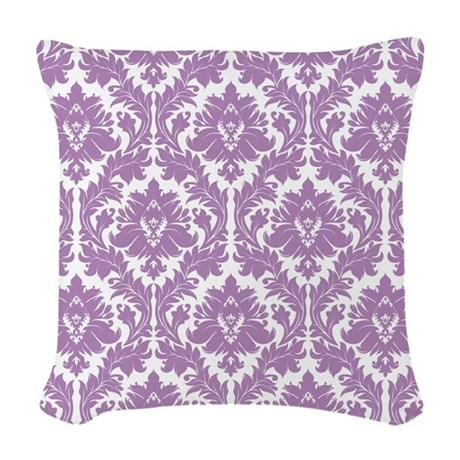 Lilac Violet Damask Woven Throw Pillow