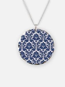 City Blue Damask Necklace