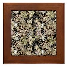 Flowers, Ferns and Butterflies Framed Tile