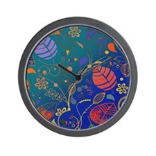 Bright Colored Tropical Plant Pattern c Wall Clock
