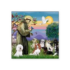 """1 - 8x10-StFrancis-10dogs Square Sticker 3"""" x 3"""""""