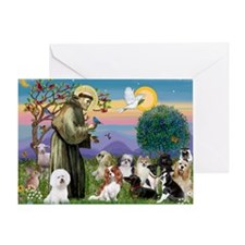 1 - 8x10-StFrancis-10dogs Greeting Card