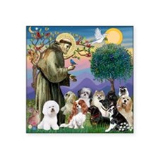 "1-TILE-StFrancis-10dogs Square Sticker 3"" x 3"""