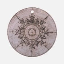 Antique Wind Rose Compass Design Round Ornament