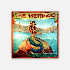 "Vintage Mermaid Carnival Po Square Sticker 3"" x 3"""