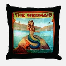 Vintage Mermaid Carnival Poster Showe Throw Pillow