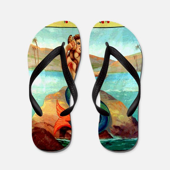 Vintage Mermaid Carnival Poster Shower  Flip Flops