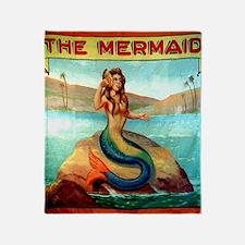 Vintage Mermaid Carnival Poster Show Throw Blanket